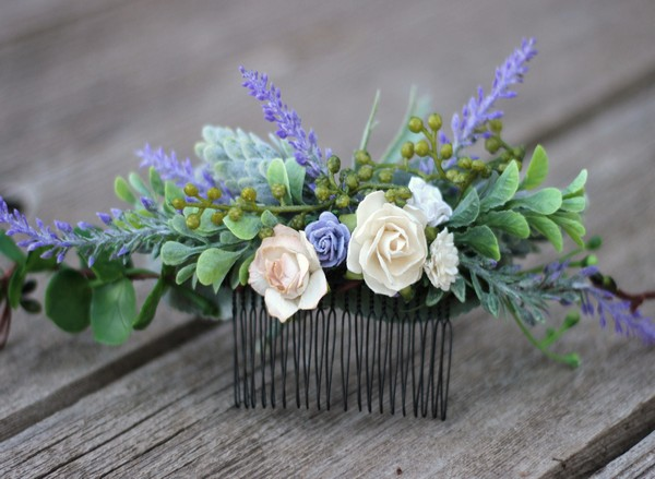 Lavender bridal flower hair piece purple boho flower hair comb wedding